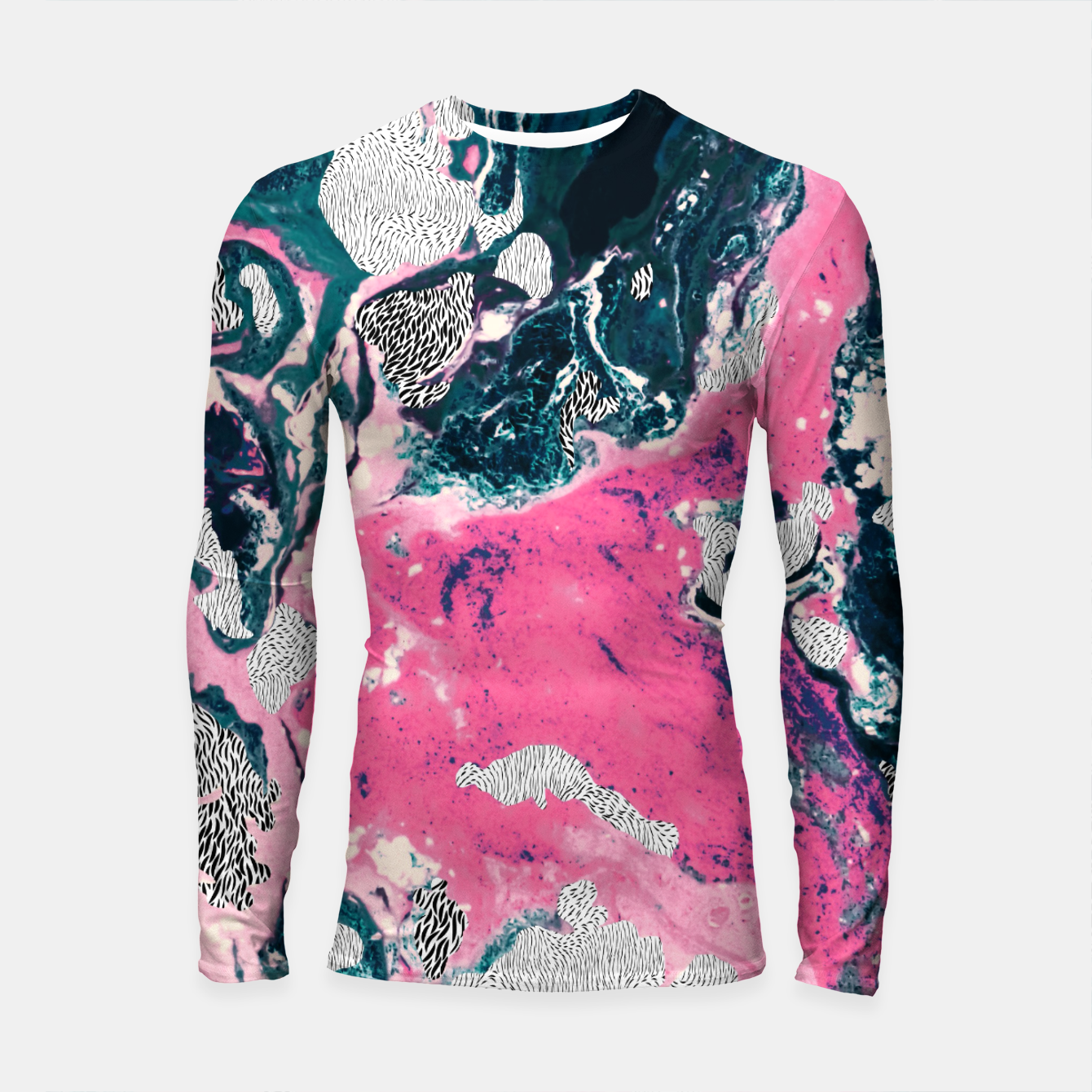 Image of Marble mosaic with patterned patterns 02 Longsleeve rashguard - Live Heroes