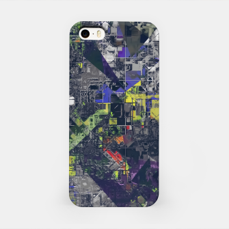 Thumbnail image of psychedelic geometric triangle polygon pattern abstract in blue yellow black iPhone Case, Live Heroes