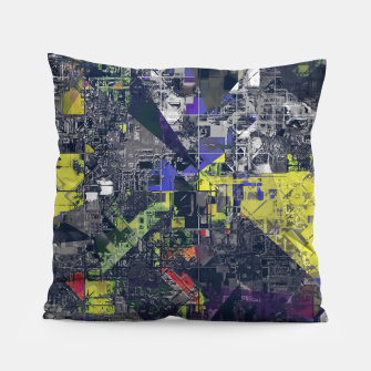 Thumbnail image of psychedelic geometric triangle polygon pattern abstract in blue yellow black Pillow, Live Heroes