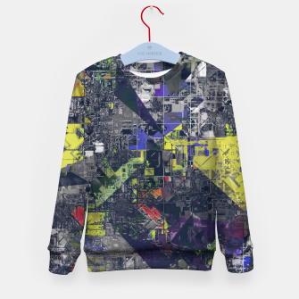 Thumbnail image of psychedelic geometric triangle polygon pattern abstract in blue yellow black Kid's sweater, Live Heroes