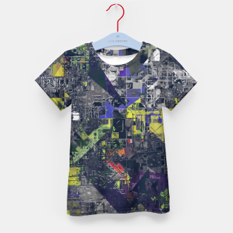 Thumbnail image of psychedelic geometric triangle polygon pattern abstract in blue yellow black Kid's t-shirt, Live Heroes