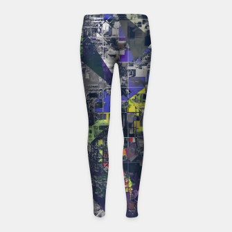 Thumbnail image of psychedelic geometric triangle polygon pattern abstract in blue yellow black Girl's leggings, Live Heroes