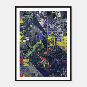 Thumbnail image of psychedelic geometric triangle polygon pattern abstract in blue yellow black Framed poster, Live Heroes