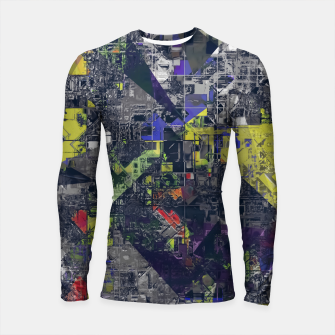 Thumbnail image of psychedelic geometric triangle polygon pattern abstract in blue yellow black Longsleeve rashguard , Live Heroes