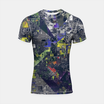 Thumbnail image of psychedelic geometric triangle polygon pattern abstract in blue yellow black Shortsleeve rashguard, Live Heroes