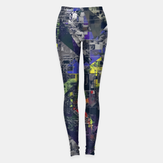 Thumbnail image of psychedelic geometric triangle polygon pattern abstract in blue yellow black Leggings, Live Heroes