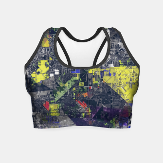 Thumbnail image of psychedelic geometric triangle polygon pattern abstract in blue yellow black Crop Top, Live Heroes