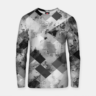 Thumbnail image of psychedelic geometric square pixel pattern abstract background in black and white Cotton sweater, Live Heroes