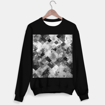 Thumbnail image of psychedelic geometric square pixel pattern abstract background in black and white Sweater regular, Live Heroes