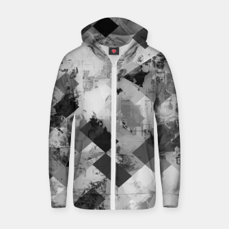 Thumbnail image of psychedelic geometric square pixel pattern abstract background in black and white Cotton zip up hoodie, Live Heroes