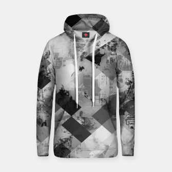Thumbnail image of psychedelic geometric square pixel pattern abstract background in black and white Cotton hoodie, Live Heroes