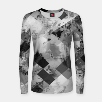 Thumbnail image of psychedelic geometric square pixel pattern abstract background in black and white Woman cotton sweater, Live Heroes