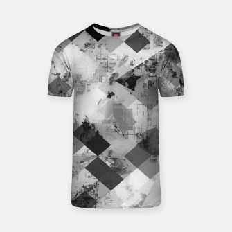 Thumbnail image of psychedelic geometric square pixel pattern abstract background in black and white T-shirt, Live Heroes