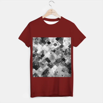 Thumbnail image of psychedelic geometric square pixel pattern abstract background in black and white T-shirt regular, Live Heroes