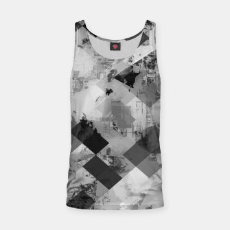 Thumbnail image of psychedelic geometric square pixel pattern abstract background in black and white Tank Top, Live Heroes