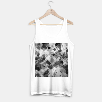 Thumbnail image of psychedelic geometric square pixel pattern abstract background in black and white Tank Top regular, Live Heroes
