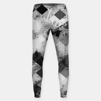 Thumbnail image of psychedelic geometric square pixel pattern abstract background in black and white Cotton sweatpants, Live Heroes