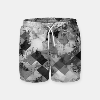 Thumbnail image of psychedelic geometric square pixel pattern abstract background in black and white Swim Shorts, Live Heroes