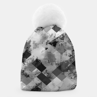 Thumbnail image of psychedelic geometric square pixel pattern abstract background in black and white Beanie, Live Heroes