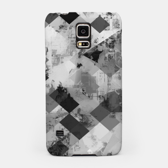 Thumbnail image of psychedelic geometric square pixel pattern abstract background in black and white Samsung Case, Live Heroes