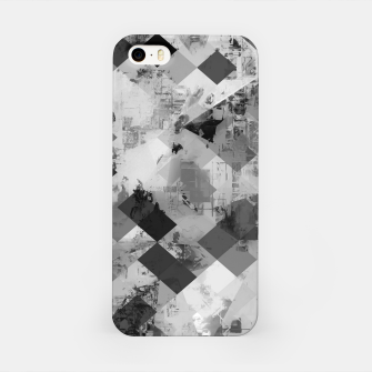 Thumbnail image of psychedelic geometric square pixel pattern abstract background in black and white iPhone Case, Live Heroes