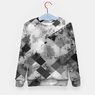 Thumbnail image of psychedelic geometric square pixel pattern abstract background in black and white Kid's sweater, Live Heroes