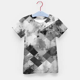 Thumbnail image of psychedelic geometric square pixel pattern abstract background in black and white Kid's t-shirt, Live Heroes