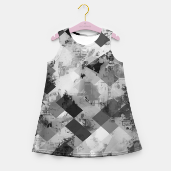 Thumbnail image of psychedelic geometric square pixel pattern abstract background in black and white Girl's summer dress, Live Heroes