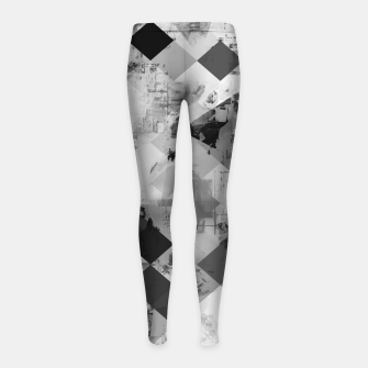 Thumbnail image of psychedelic geometric square pixel pattern abstract background in black and white Girl's leggings, Live Heroes
