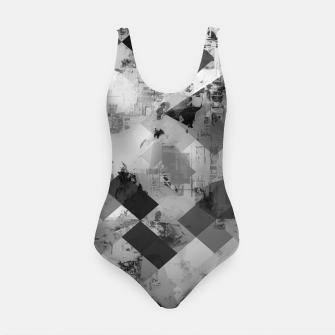 Thumbnail image of psychedelic geometric square pixel pattern abstract background in black and white Swimsuit, Live Heroes