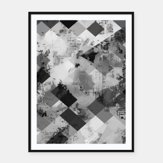 Thumbnail image of psychedelic geometric square pixel pattern abstract background in black and white Framed poster, Live Heroes