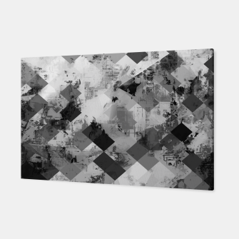 Thumbnail image of psychedelic geometric square pixel pattern abstract background in black and white Canvas, Live Heroes