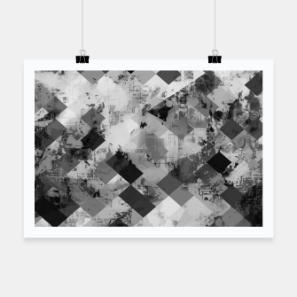 Thumbnail image of psychedelic geometric square pixel pattern abstract background in black and white Poster, Live Heroes