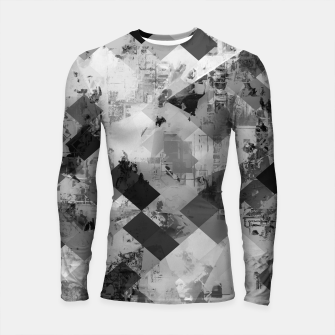 Thumbnail image of psychedelic geometric square pixel pattern abstract background in black and white Longsleeve rashguard , Live Heroes