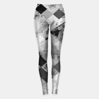Thumbnail image of psychedelic geometric square pixel pattern abstract background in black and white Leggings, Live Heroes