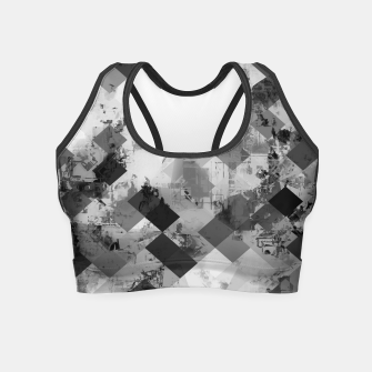 Thumbnail image of psychedelic geometric square pixel pattern abstract background in black and white Crop Top, Live Heroes
