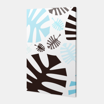 Thumbnail image of Monstera leaves blue and black Canvas, Live Heroes