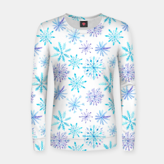 Snowflakes Woman cotton sweater obraz miniatury