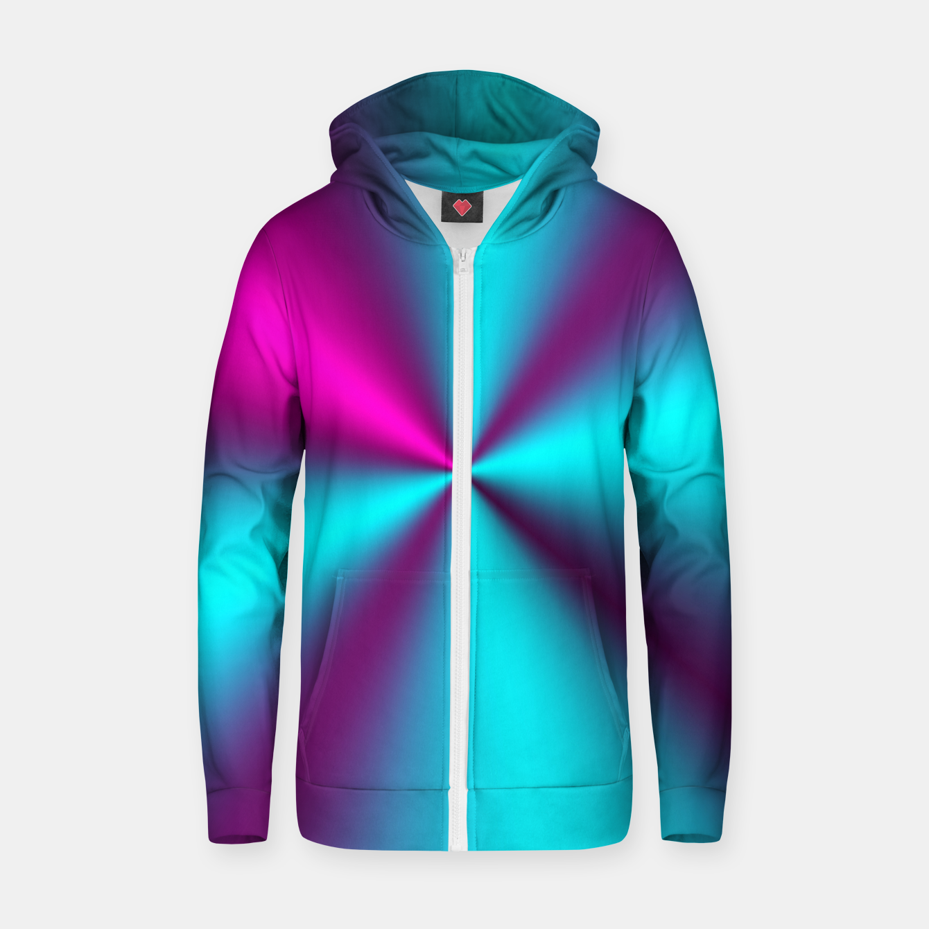 Zdjęcie Violet Illusion silk waves Cotton zip up hoodie - Live Heroes