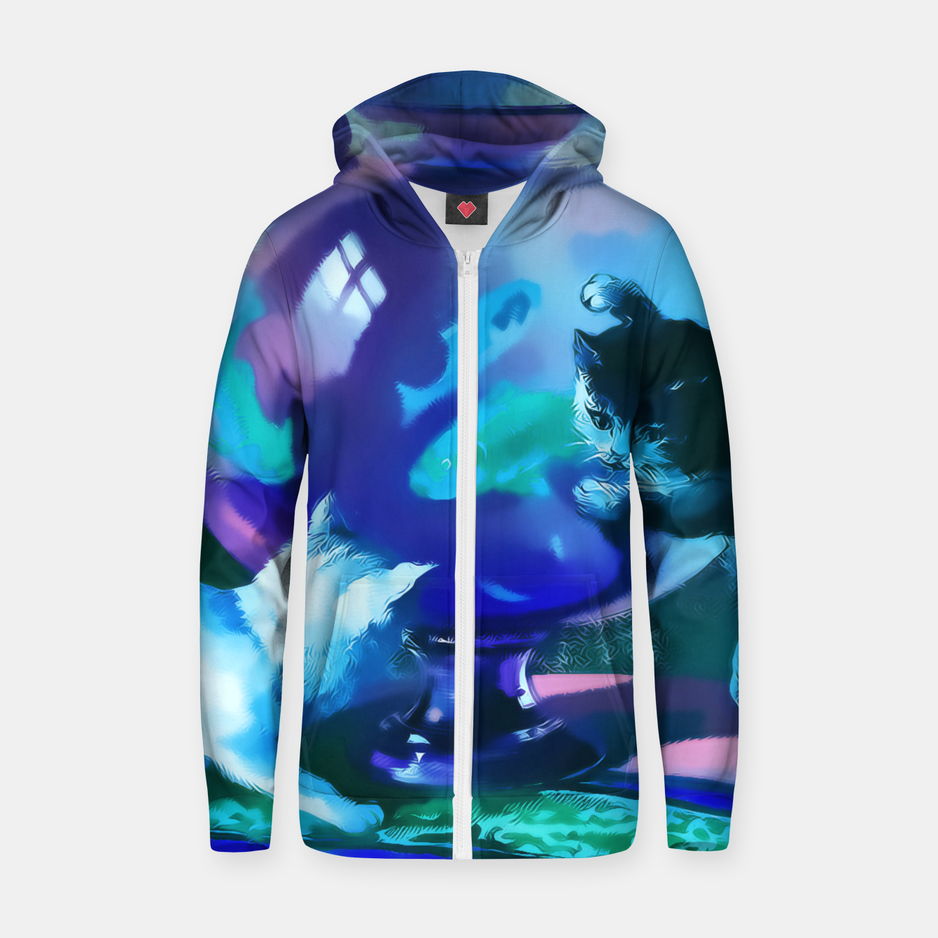 Zdjęcie Vintage Kittens playing with fishes in a glass bowl Cotton zip up hoodie - Live Heroes