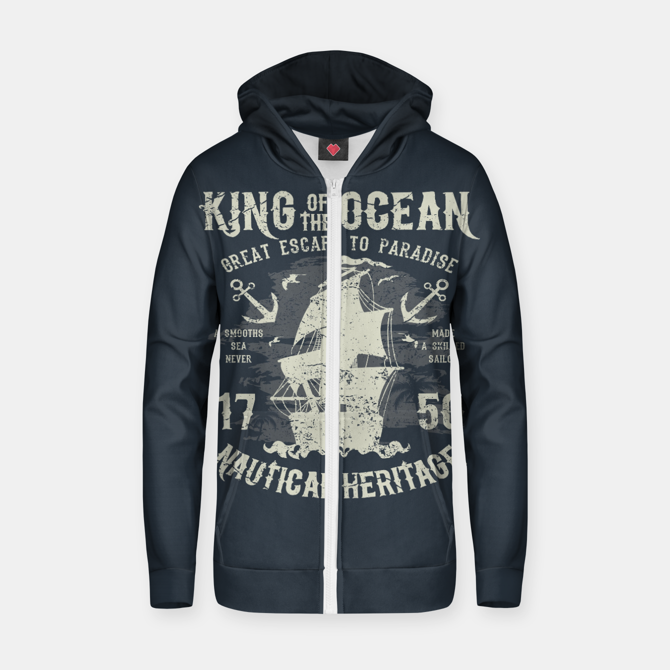 Zdjęcie King of the Ocean Cotton zip up hoodie - Live Heroes