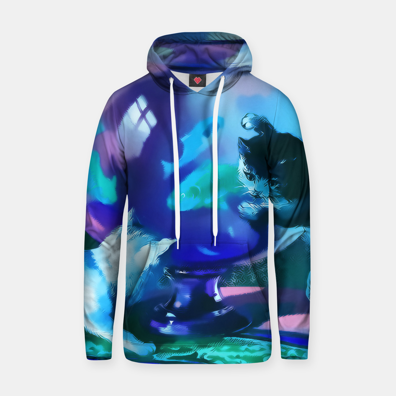 Zdjęcie Vintage Kittens playing with fishes in a glass bowl Cotton hoodie - Live Heroes