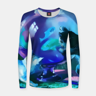 Thumbnail image of Vintage Kittens playing with fishes in a glass bowl Woman cotton sweater, Live Heroes