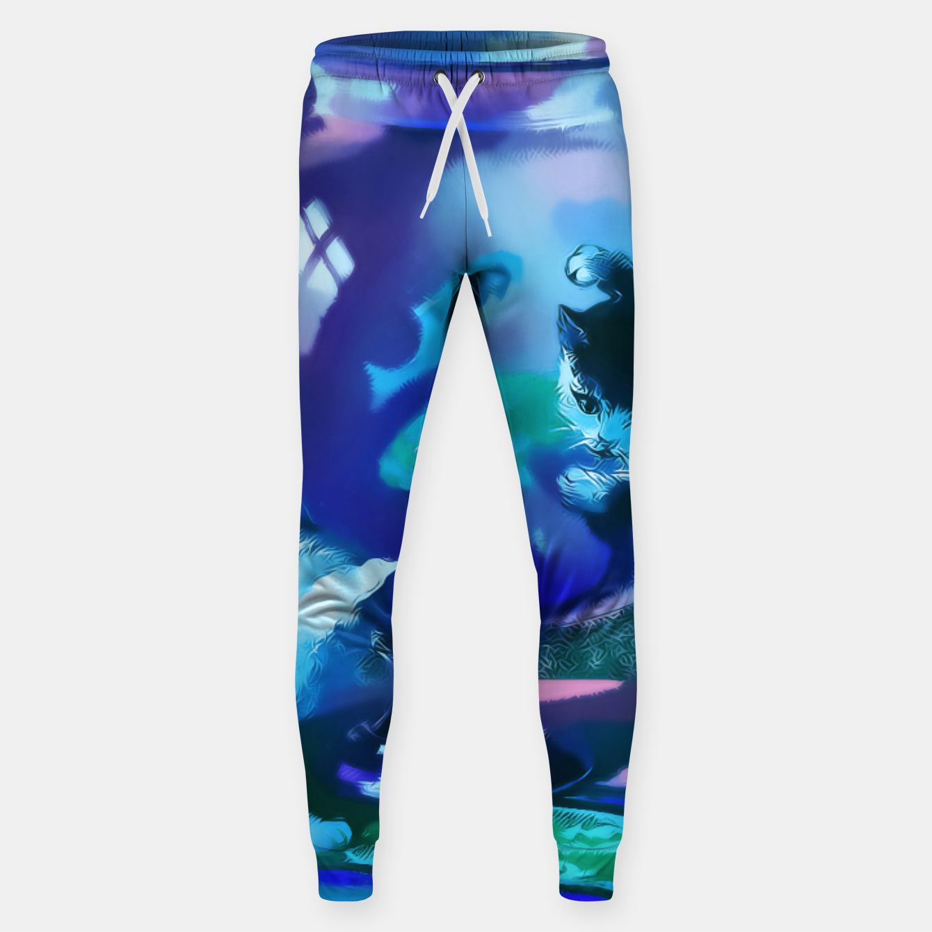 Zdjęcie Vintage Kittens playing with fishes in a glass bowl Cotton sweatpants - Live Heroes