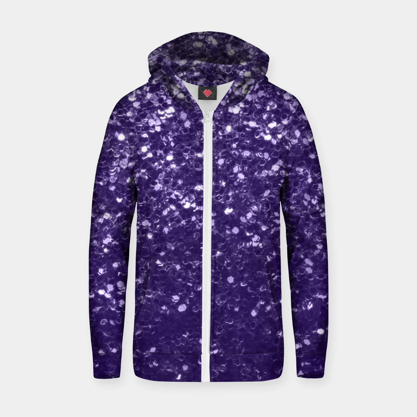 Image of Dark ultra violet purple glitter spakles Cotton zip up hoodie - Live Heroes