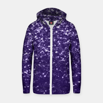 Thumbnail image of Dark ultra violet purple glitter spakles Cotton zip up hoodie, Live Heroes