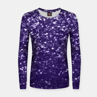 Thumbnail image of Dark ultra violet purple glitter spakles Woman cotton sweater, Live Heroes