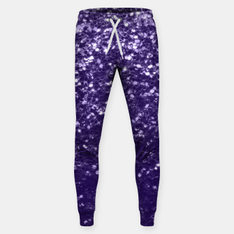 Dark ultra violet purple glitter spakles Cotton sweatpants thumbnail image