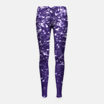 Dark ultra violet purple glitter spakles Girl's leggings thumbnail image