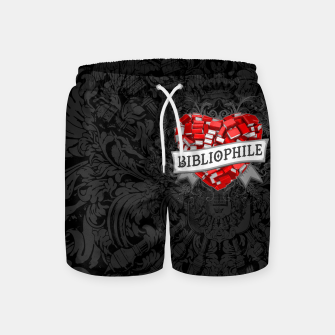 Thumbnail image of Bibliophile Heart Swim Shorts, Live Heroes